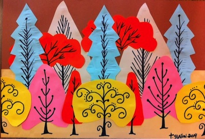 overlapping construction paper tree art