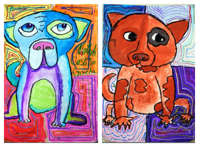 SmArt Class warm cool dog paintings