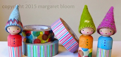 washi tape and peg dolls craft for kids
