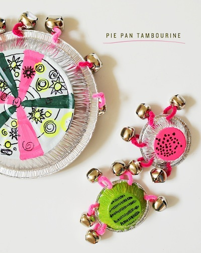 pie pan tambourine homemade musical instrument