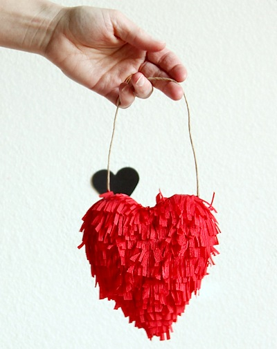 fringe heart ornament craft for Valentine's Day