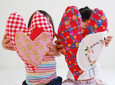 sewn fabric hearts with pocket for Valentines DIY