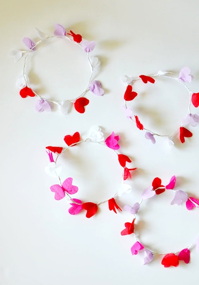 diy crepe paper heart crown Valentine's Day craft