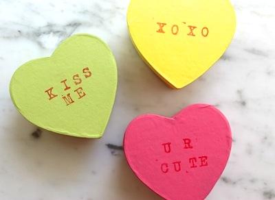 Valentine craft conversation heart gift boxes kids can make