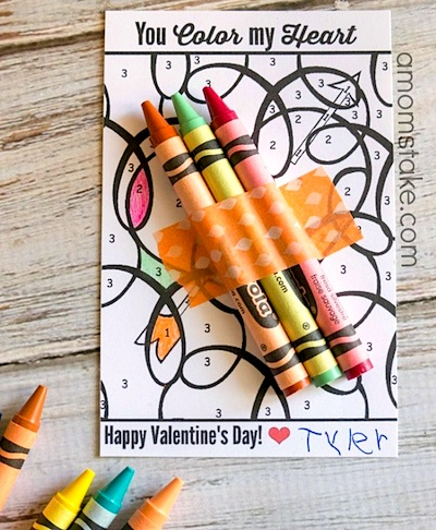 color by number printable valentine for kids