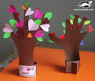 paper heart tree made from kids handprint