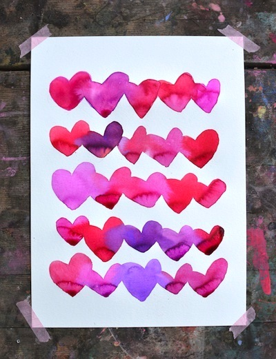 bleeding hearts art project for Valentine's Day