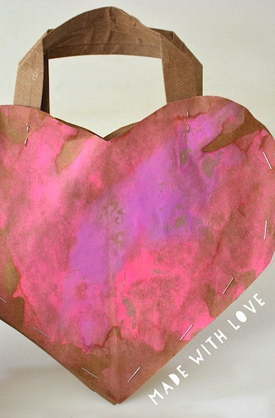 painted heart paper bag tote Valentine's Day craft for kids