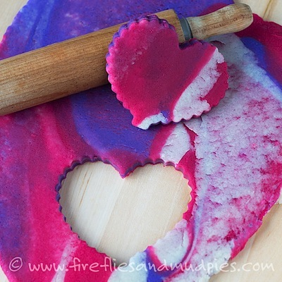 marbled pink and purple Valentine's Day playdough