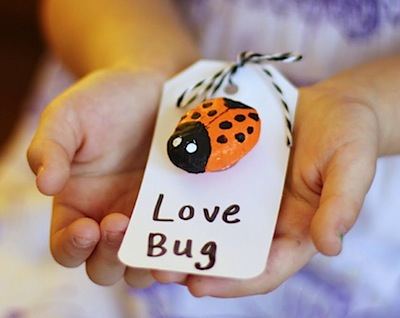 salt dough love bug Valentine's Day cards kids can make