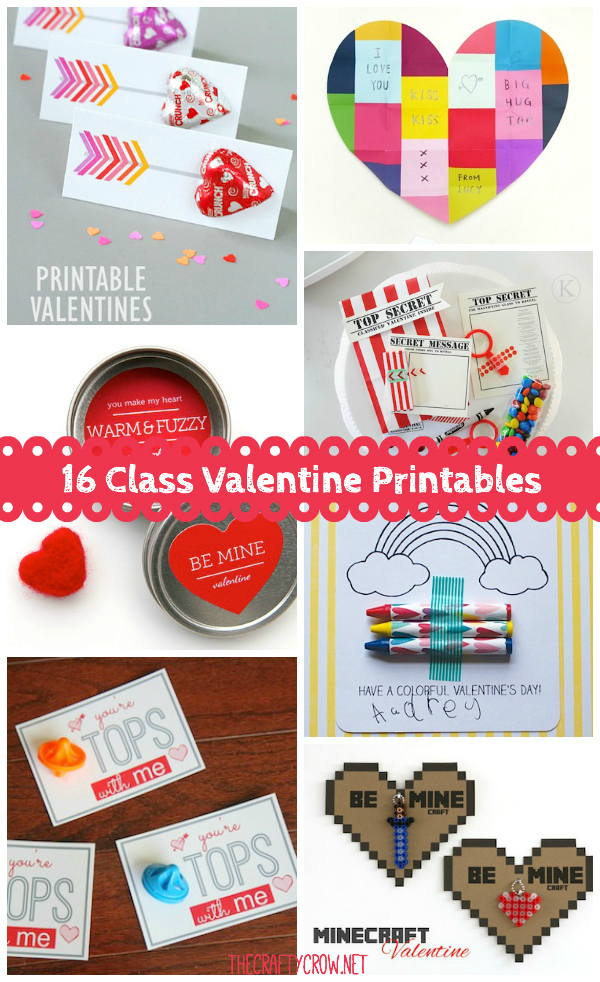 The Crafty Crow classroom Valentine printables just add a treat