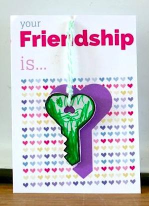 shrink plastic Valentine key charm necklace