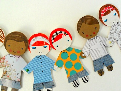 happy paper doll people banner