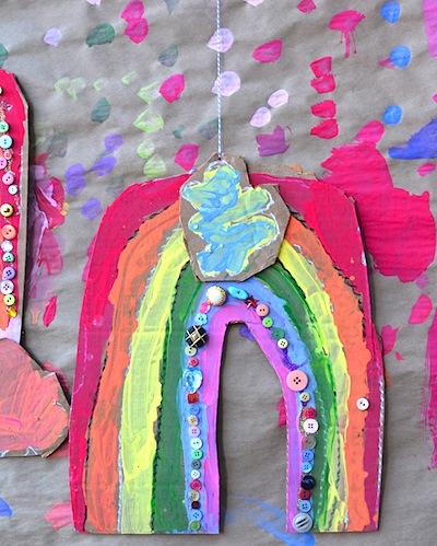 recycled cardboard rainbows