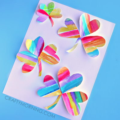 rainbow watercolor clover