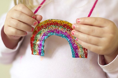 cardboard cut out rainbow necklace
