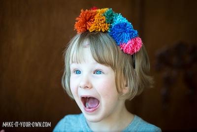 rainbow pompom headbands