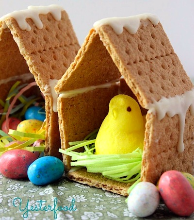 graham cracker bird house for Peeps craft