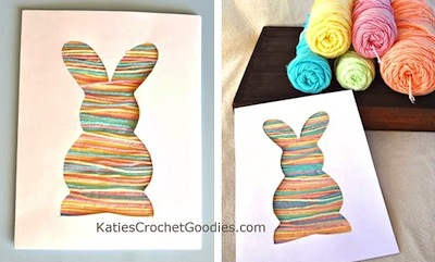 yarn silhouette bunny Easter craft for toddlers