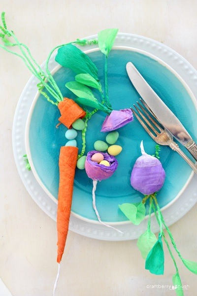 crepe paper vegetable surprise craft