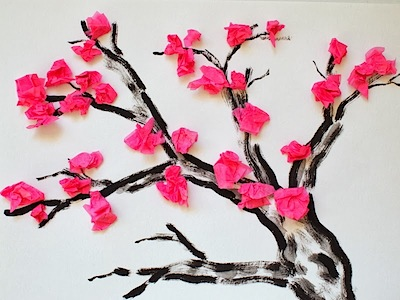 tissue paper blooming cherry tree art for kids