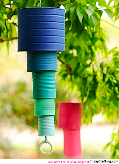 recycled can wind chimes DIY