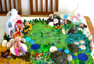 pretend play ideas with plastic recycling mermaid kingdom playdough