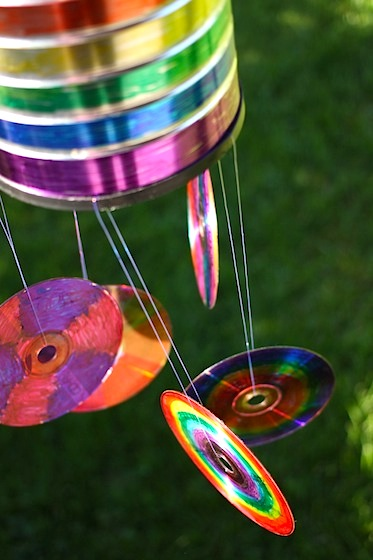 coffee can and CD windchime craft for kids