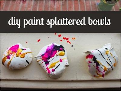 DIY paint splattered bowls kids can make for Mother's Day
