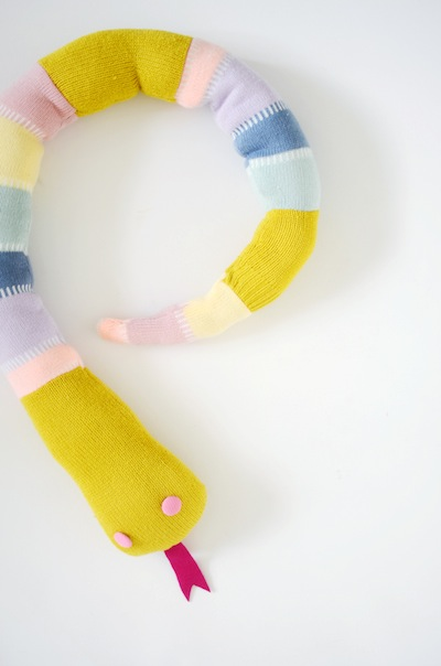 felted sweater snake softie stuffed animal DIY