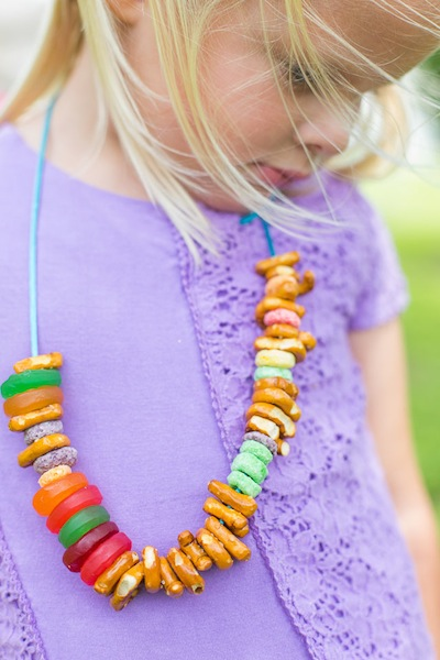 string a treat necklace craft for kids