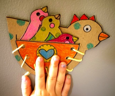 make a hen lacing toy craft for kids