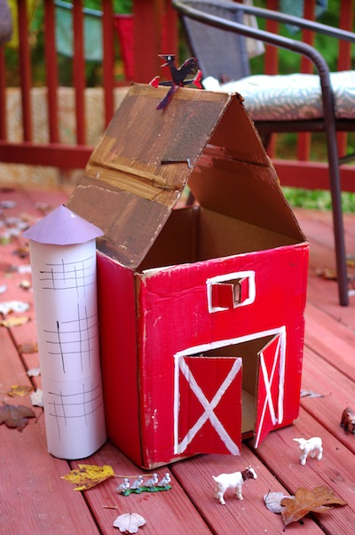 cardboard barn craft for kids