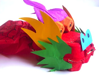 egg carton box dragon craft for kids