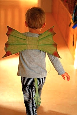 cereal box dragon wings craft for kids