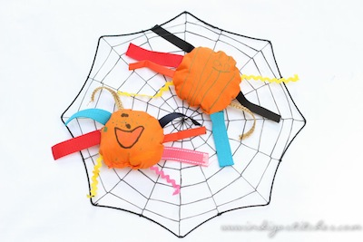 kid-made spider softies Halloween craft