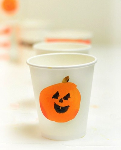 hand painted Halloween party cups