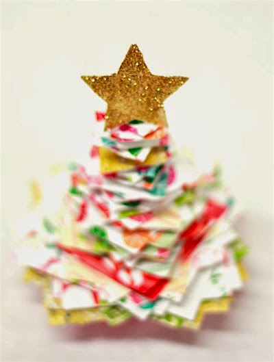 stacked paper Christmas tree craft for kids