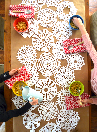 paper snowflake table runner family craft