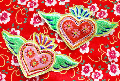 folk art tin heart craft