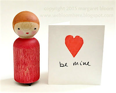 Valentine peg doll heart stamps