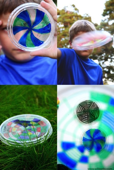 recycled plastic lid kaleidoscope frisbees