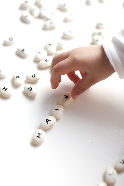 alphabet drawn on beans