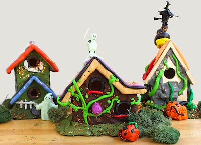 Halloween craft haunted miniature mansions with clay