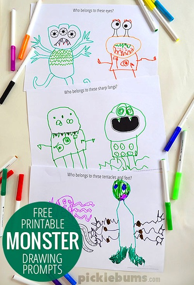 free printable monster drawing prompts
