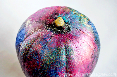 glittery galaxy art pumpkin DIY
