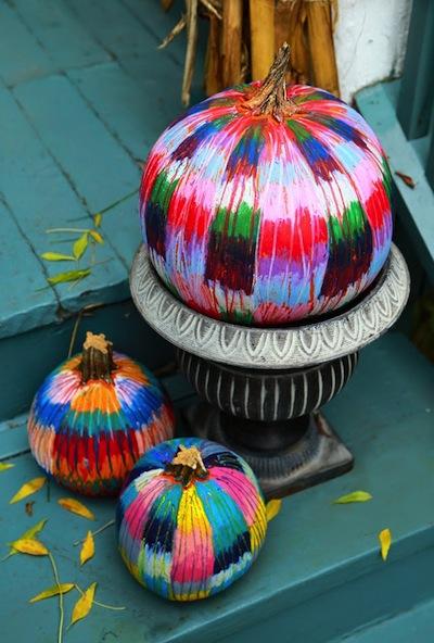 oil pastels on pumpkins