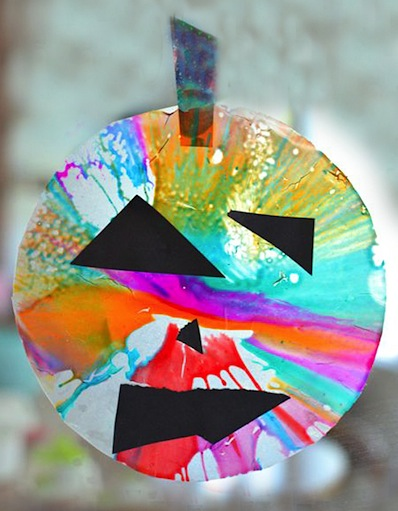jack o' lantern spin art sun catchers
