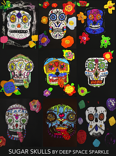 sugar skull line drawings collage