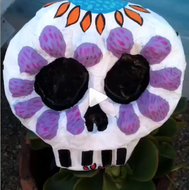 Day of the Dead paper mache calavera